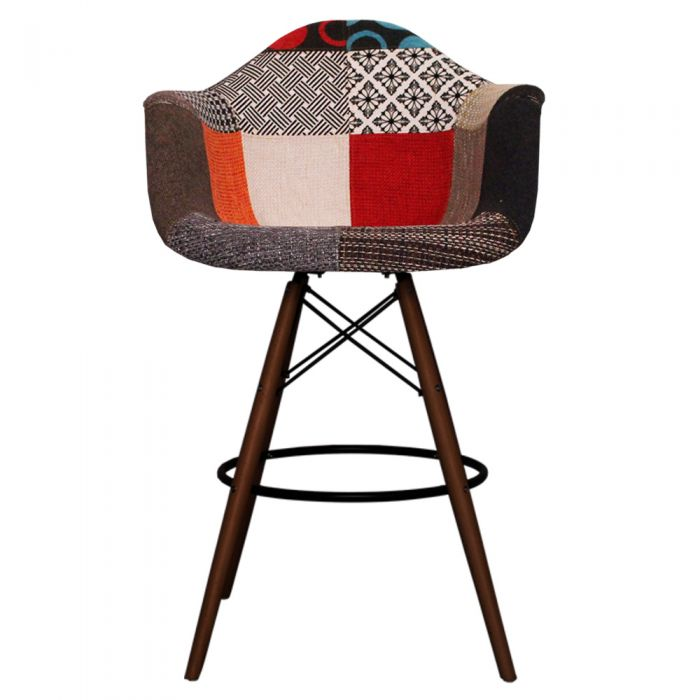 DAB Bar Stool Walnut Leg - Fabric Patchwork