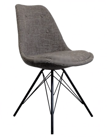 Eames Inspired I-DSR Side Chair Black Metal Legs - Brown Fabric