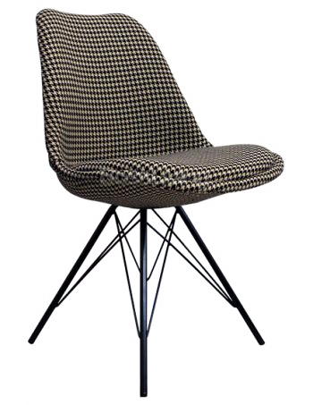 Eames Inspired I-DSR Side Chair Black Metal Legs - Houndstooth Fabric