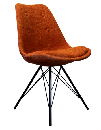 Eames Inspired I-DSR Side Chair Black Metal Legs - Orange Fabric