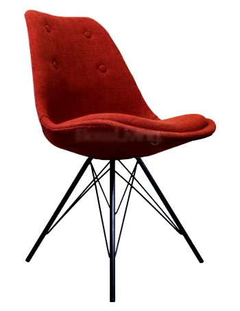 Eames Inspired I-DSR Side Chair Black Metal Legs - Red Fabric