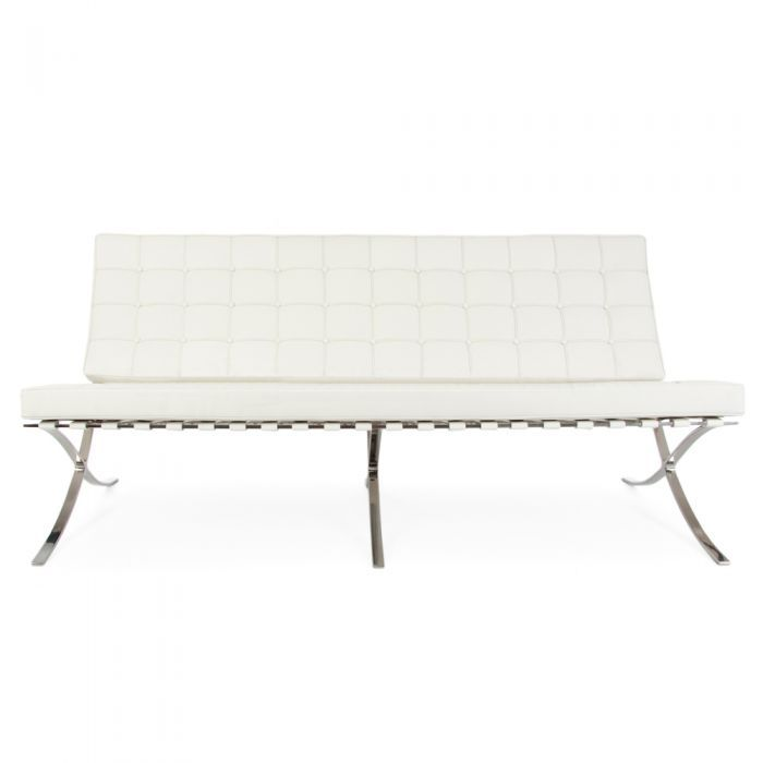Pavillion Chair (Barcelona Chair) Van De Rohe Inspired: 3 Seat - White