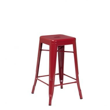 Tolix Counter Stool 66cm Burgundy Red.