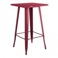 Tolix High Table Coloured Top Burgundy Red